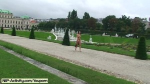 Sweet amateur babe nude in public