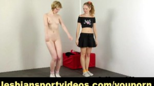 Mature woman gets seduced at nude workout