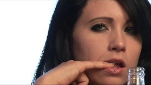 Josie s pierced lip and tongue makes for a sexy brunette