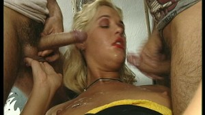 Blonde milf taking two cocks - DBM Video