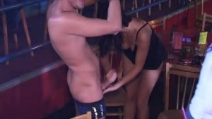 Girls sucking a Male strippers cock