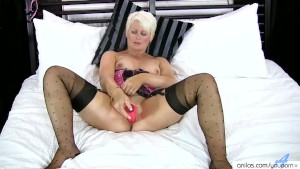 Blonde Cougar Sally Taylor Fucks Big Dildo