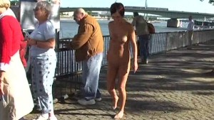 Hot public nudity with horny brunette
