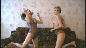 Lesbian couple stripping flexible
