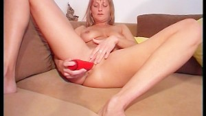 Big orange vibrator goes deep
