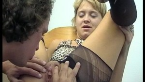 Ripping into those pantyhose to get to her pussy