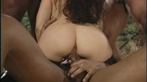 Latina beauty gets a facial from four black cocks