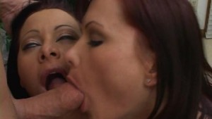 Two bored milf sharing a dick