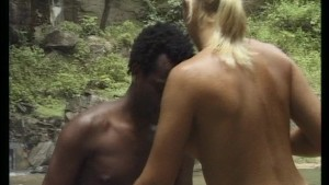 Sexy horny couple make love at the waterfalls