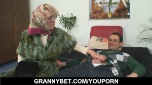 Lonely granny gives her old bo