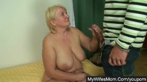 Wife catches her husband fucking her old mom