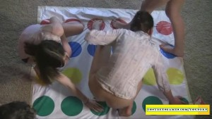 Hot amateurs playing strip twister