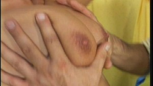 Big boobs bounce as she sits on his dick