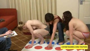 Amateur girls playing Strip Twister