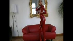 Glamour Sophie strips in shiny lycra (clip)