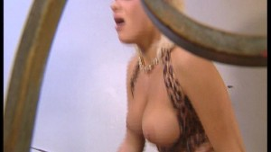 Blonde with huge jugs has staircase tryst