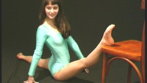 German Abena bending her body (movie)