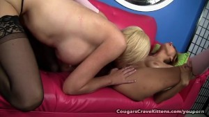 Hot Young Blonde Licks Cougars Pussy