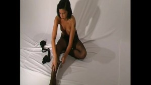 Nadja sexy strip in nylon pantyhose