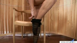 Milfy pantyhose strip and toying