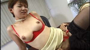 Asian woman horny at the offic