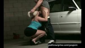 hot blonde slammed in garage