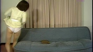 Horny Asian girl rides her couch