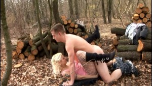German chick gets wood piled -