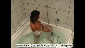 Tina taking a bath in nylon