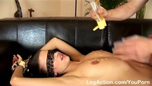 Hot Euro chic loves blindfold fuck
