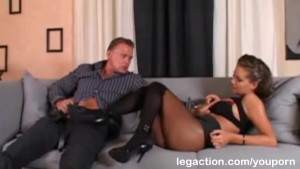 Sexy Karina anal fucked wearing stockings