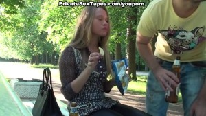 Hot blowjob in the park bench