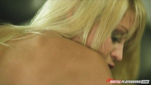 Horny young blonde slut is blindfolded then fucked by hard-cock
