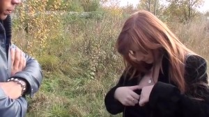 Blowing 2 cocks in the forest