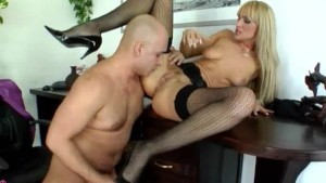 Czech blonde slut fucked over the table