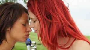 Redhead and brunette babes in the public