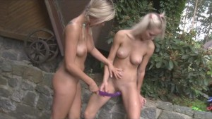 Teen lesbians with a double do