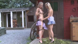 Country girls sharing a double dong dildo outdoors