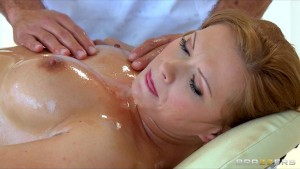 Sexy redhead with perfect tits Katja Kassin fucks her masseur