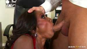 Hot & horny ebony executive Diamond Jackson rides big-dick