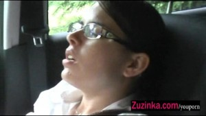 Wet pussy in a car