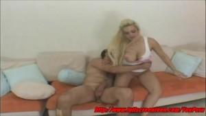 Teen blonde having sex at home