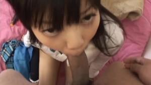 Sweet and innocent schoolgirl Minami Asakas pussy eaten