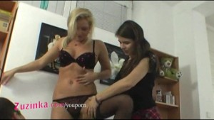 Zuzinka and her blond friend doing strip show
