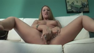 Busty Blonde comes to the casting couch to finger her tight pussy