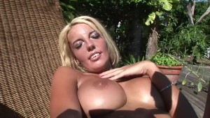 Beautiful blonde plays with her pierced pussy in the backyard- DreamGirls