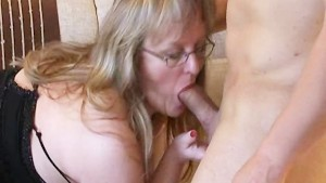 Busty amateur Milf sucks and fucks with cum on tits