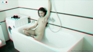 Slim teen posing in a bathroom and on the floor - 3D backstage