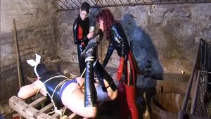 Tied up and teased by leather babes - Absurdum Productions