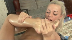 Tiny tit blonde oiled up pussy fuck